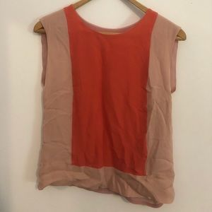 J.Crew Silk Coral/Pink Colorblock Sleeveless Top